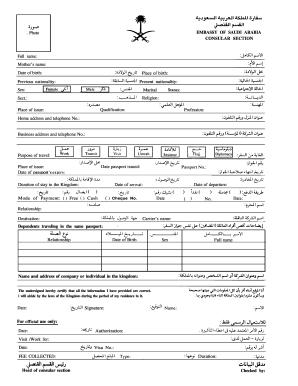 Fillable Online Saudi Arabia Visa Application Form The
