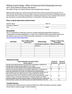 Fillable Online Jewell Verification Worksheet And