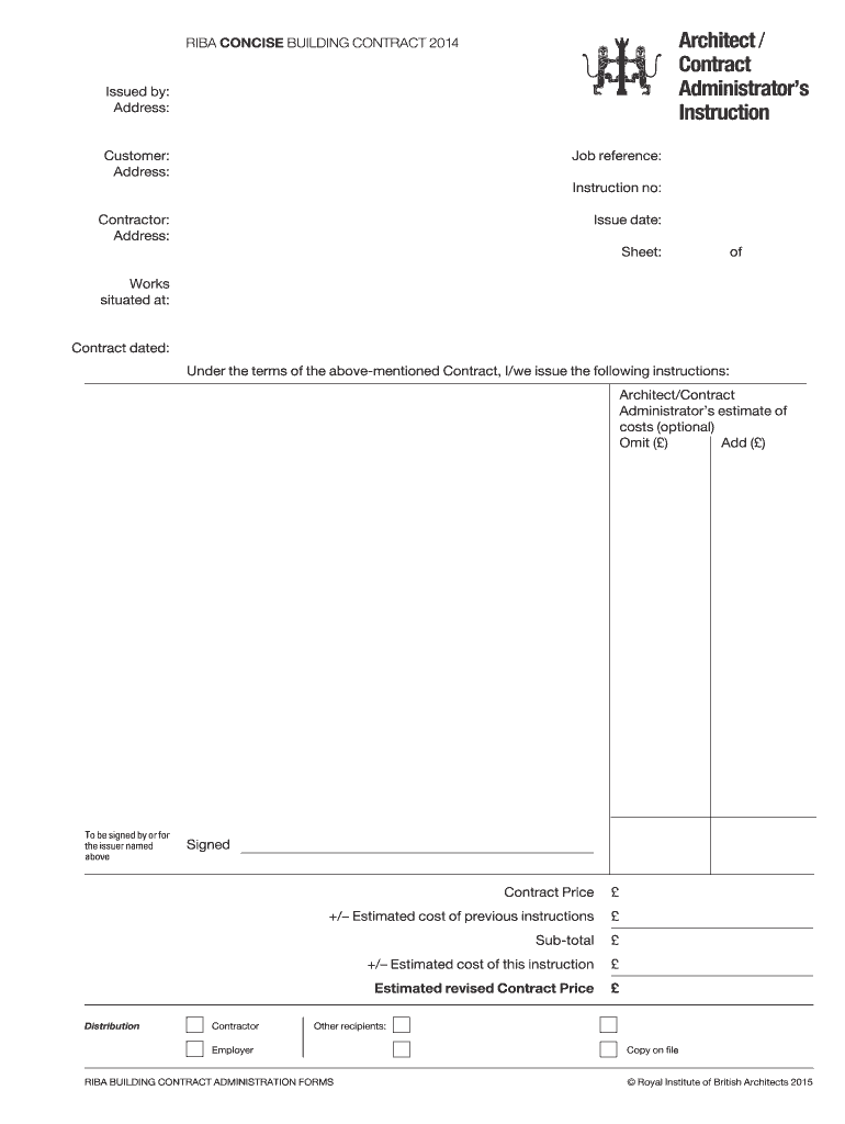 For an instruction manual to be effective, it needs to be logically organized, easy to navigate through and written in clear language. Architects Instruction Template Fill Online Printable Fillable Blank Pdffiller