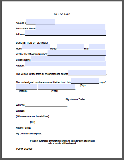 Bill of Sale Form (Madison County)