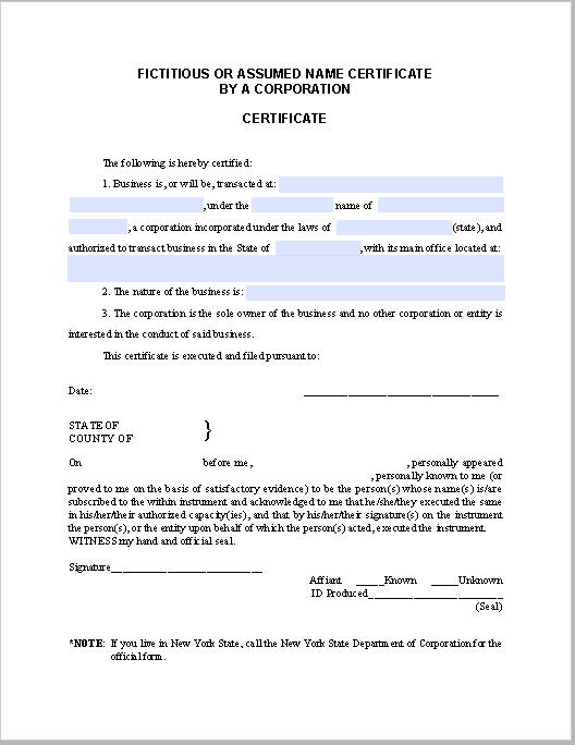 Corporation Certificate Template (For Fictitious or Assumed Name ...