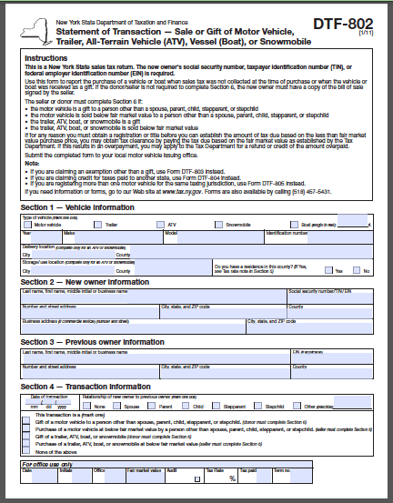 New York Bill Of Sale Form