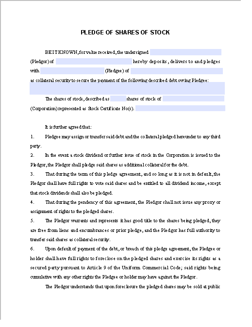 Pledge Contract Template For Share Of Stock Free Fillable Pdf