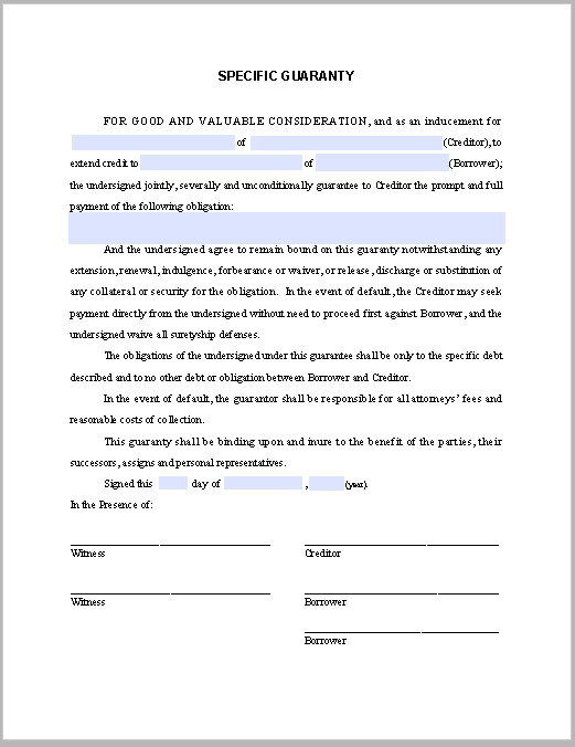 specific guaranty note