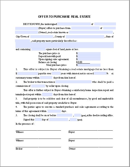 Real estate purchase offer form free fillable pdf forms for Offer to purchase contract template