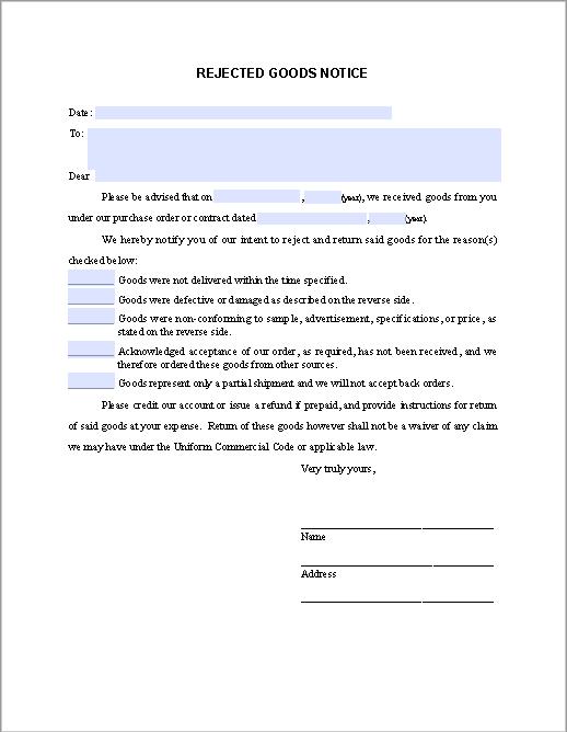 rejected goods notice