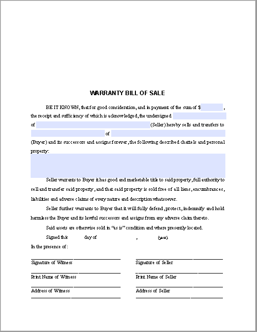 Warranty Bill Of Sale Form