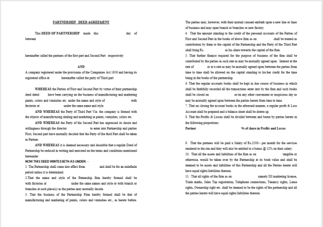 free partnership agreement template pdf
