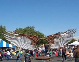 Giant metal wings that can be spun around