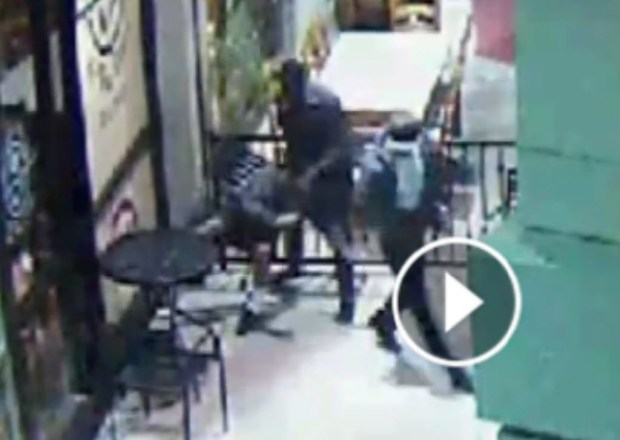 Riverside police are looking for suspects who beat and robbed a deaf man at The Coffee Bean & Tea Leaf at Mission Inn Avenue and Main Street in Riverside on May 19, 2015. (COURTESY OF RIVERSIDE POLICE DEPARTMENT)