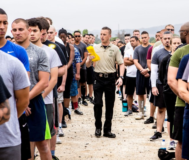 Correctional Deputy Randall Tackett Center Gives Out Instructions To Applicants As They Take Part In The Agility Test To Potentially Become New Riverside