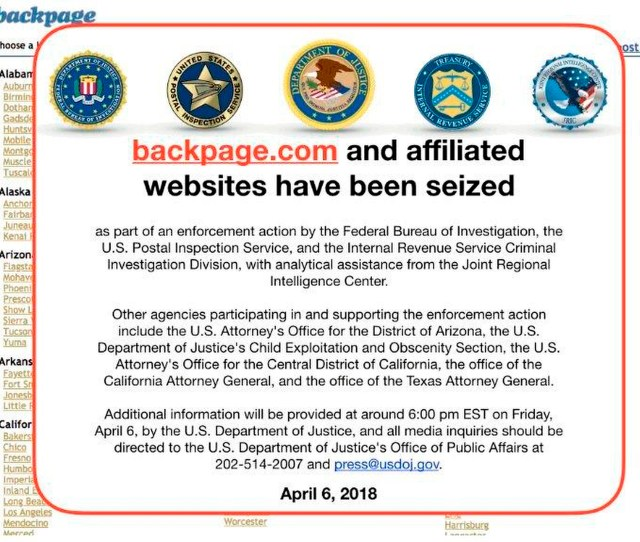This Friday April   Image Shows An Fbi Notice On The Backpage Com Website Federal Law Enforcement Authorities Are In The Process Of Seizing