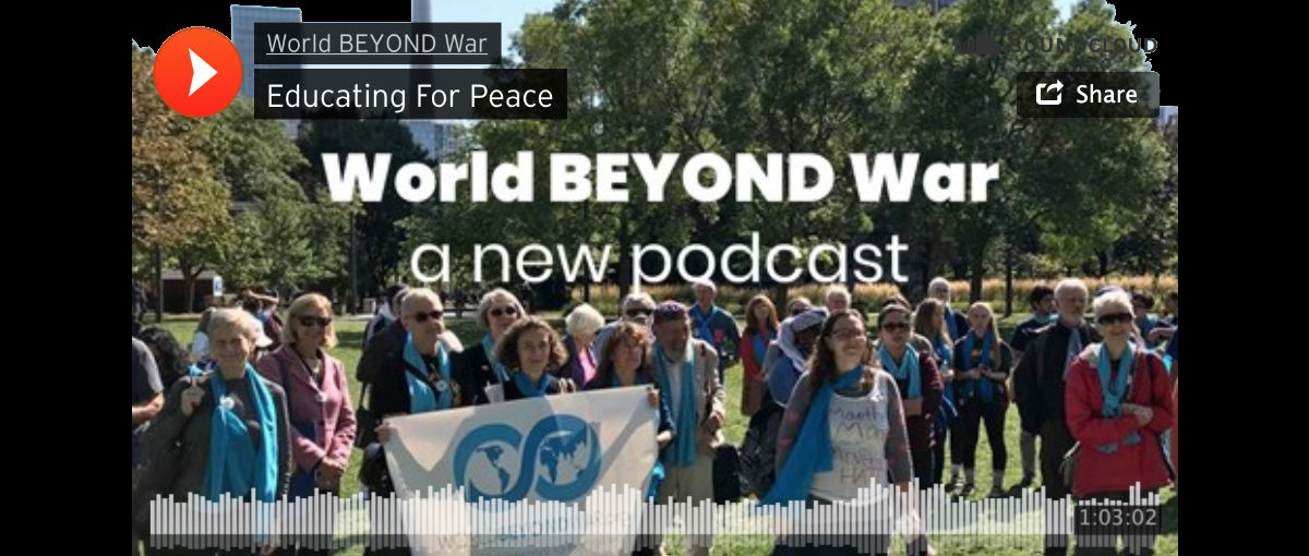 Educating For Peace: new World BEYOND War podcast episode featuring Tony Jenkins, Patrick Hiller, Kozue Akibayashi