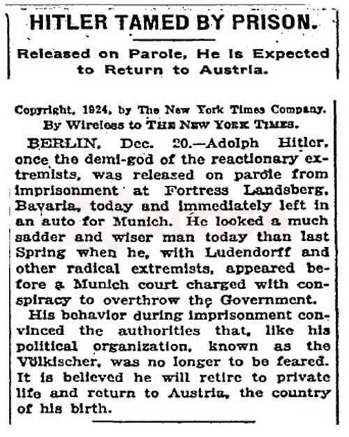 Hitler, New York Times 1924