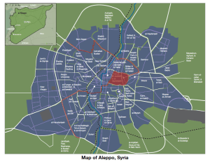 Caerus's map of Aleppo detailing its 56 neighborhoods