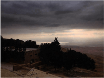 Mount Nebo, from where Moses saw the promised land in Deuteronomy.  Are storm clouds gathering over Jordan?