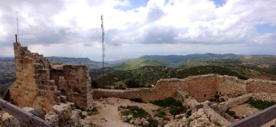 The spine of mountains that runs North-South in Western Jordan provide opportunities for wind farms.  This windy spot at Ajloun Castle is a great example.  PC: Edie Grove