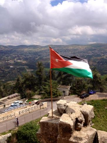 Jordanian flag flying at the always windy Ajloun Castle.  PC: Eddie Grove