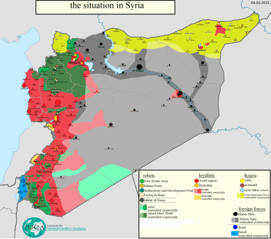 A map of control in Syria by Thomas Van Linge, updated on January 4.