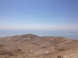 The Dead Sea as seen from Mukawir, the site of John the Baptist's beheading and of a last stand during the First Jewish Revolt, similar to the events at Masada.