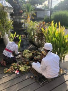 Hindu Blessing Ceremony of offerings for the gods in Canggu Bali