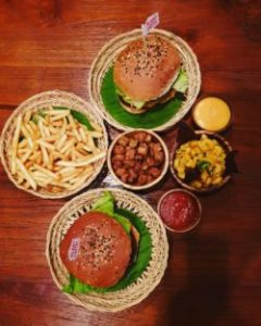 Vegan junk food, burger and chips in Bali