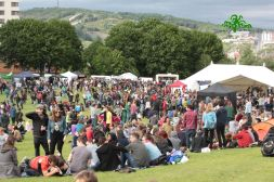 The crowds gathering in the Peace field