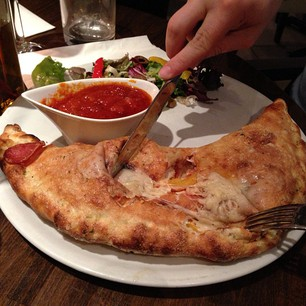 Big calzone! Big! Huge! (photo by Ashley)