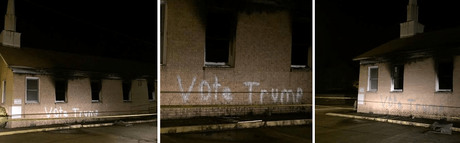Hopewell Missionary Baptist Church in Greenville, Mississippi vandalized and set on fire to support Trump