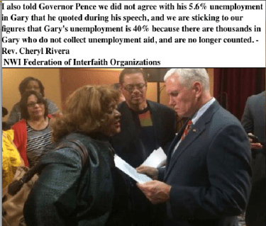 ev Cheryl Rivera, co-chair of the Federation. speaking to Mike Pence about Gary unemployment
