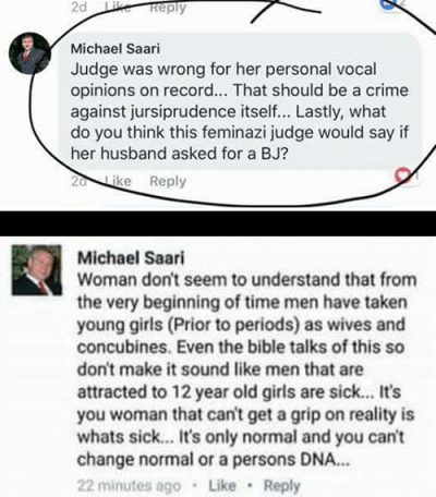 Michael Saari lashed out at the Nassar trial judge while appearing to defend pedophilia.