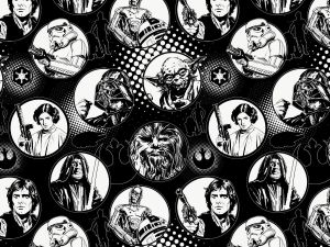 fabric with black and white images from Star Wars