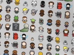 fabric with chibi Star Wars characters
