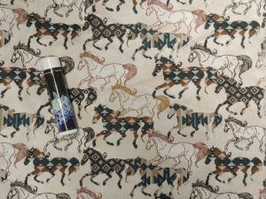 patterned horses in browns and blues running