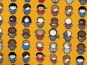 fabric with chibi Star Trek characters