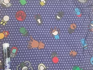 chibi Marvel characters on a purple polka-dotted background