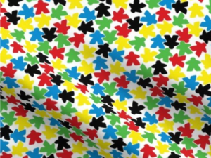 multi-colored meeples on a white background