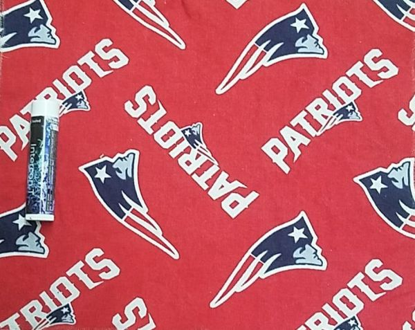 Patriots logo and text on a red background