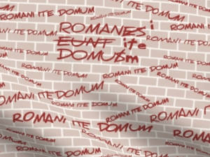 "A quote from the movie ""The Life of Brian"", various sizes of ""Romani ite domum"" written in red on a brick background"