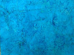 teal paisleys on lighter teal batik