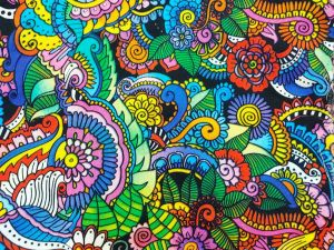 bright, multicolor henna-style floral patterns