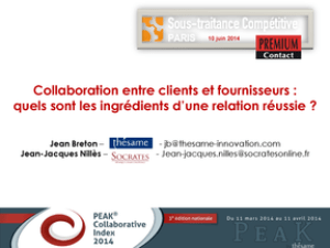 Présentation du PEAK Collaborative Index 2014