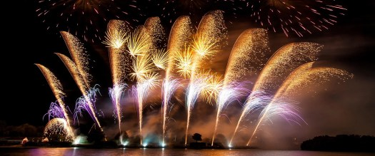 Plumes of fireworks burst in the sky