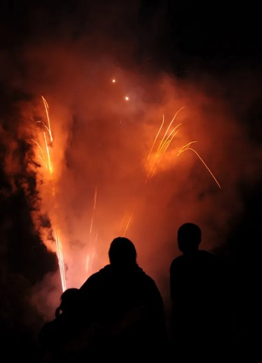 Family of three watching fireworks at night