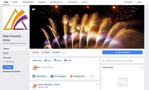 Screenshot of Peak Fireworks Facebook page