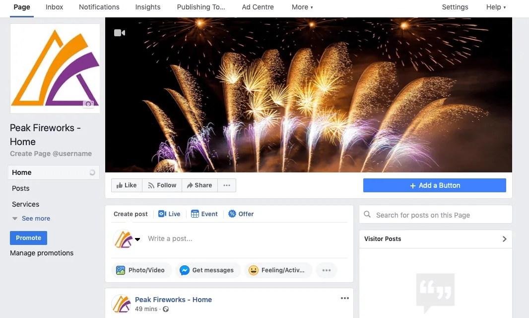 Screenshot of Peak Fireworks Facebook page