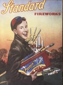 Classic Standard Fireworks advert with boy holding fireworks