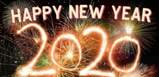 Fireworks spelling out Happy New Year 2120