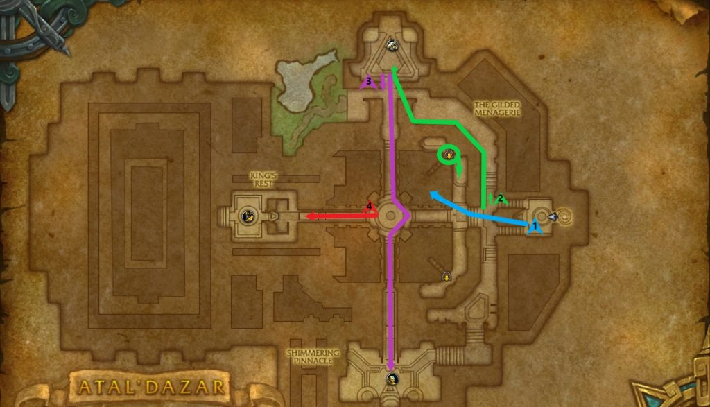 A color-coded map of the optimal route through Atal'Dazar.