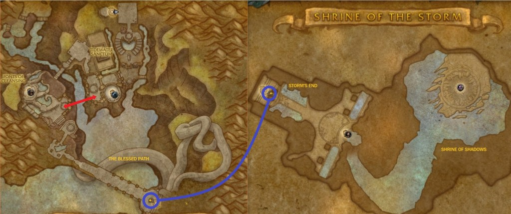 A map of the Shrine of the Storm, with shortcuts, travel points, and unnamed locations added